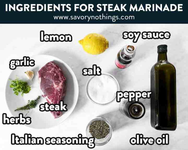 collage of ingredients to make steak marinade