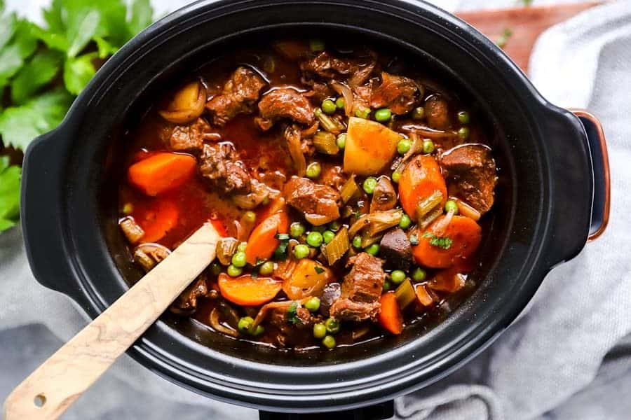 top view on crock pot filled with beef stew