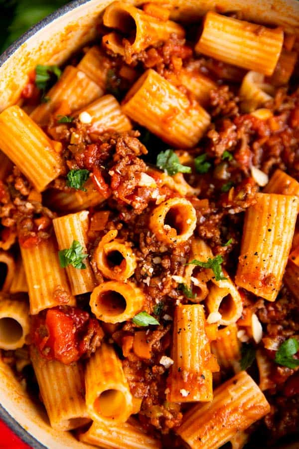 close up photo of rigatoni bolognese