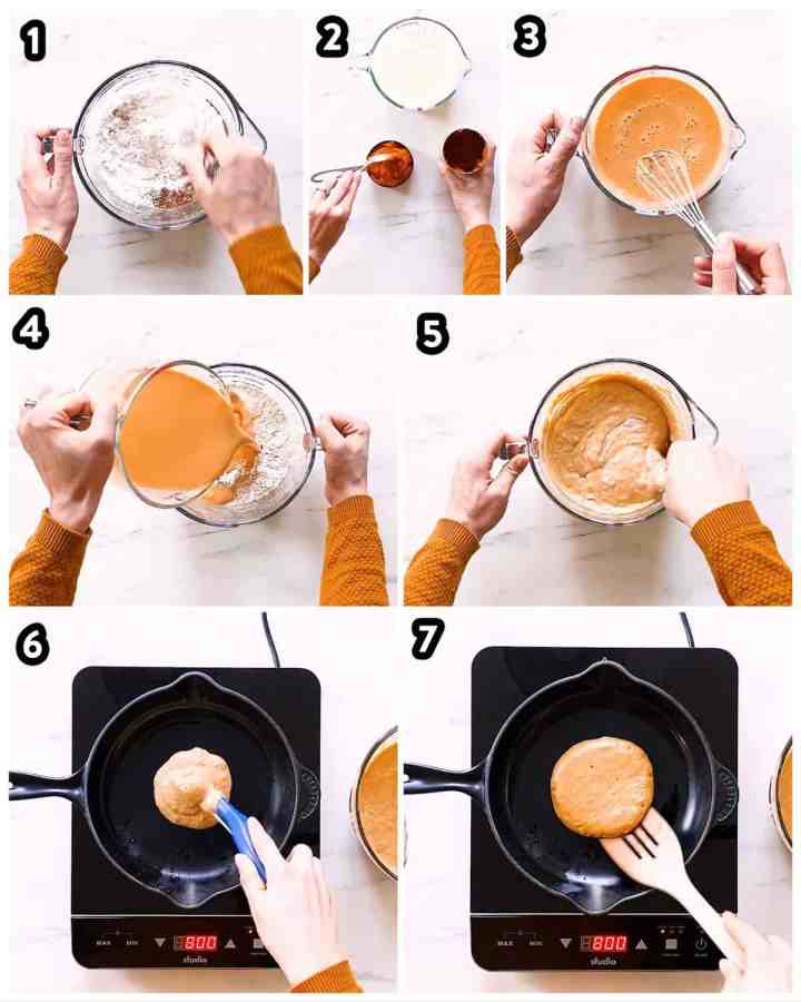 collage of steps to make pumpkin pancakes