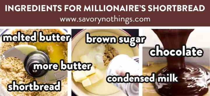 collage of images to show ingredients for Millionaire's Shortbread