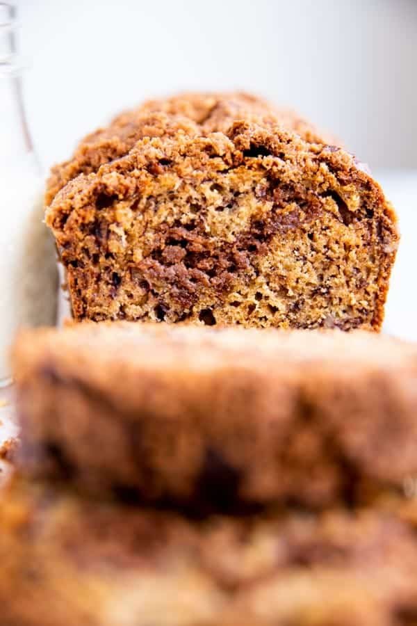 selective focus photography of a banana bread loaf