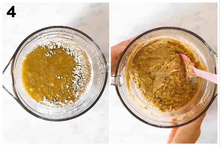 photo collage to show how to combine banana bread batter
