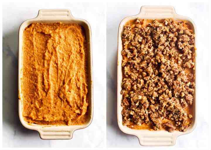 collage of photos to show assembly of a sweet potato casserole