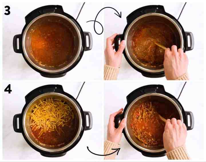 collage of steps to show combining ingredients for ziti in instant pot
