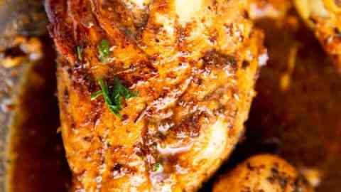 stuffed caprese chicken in balsamic glaze