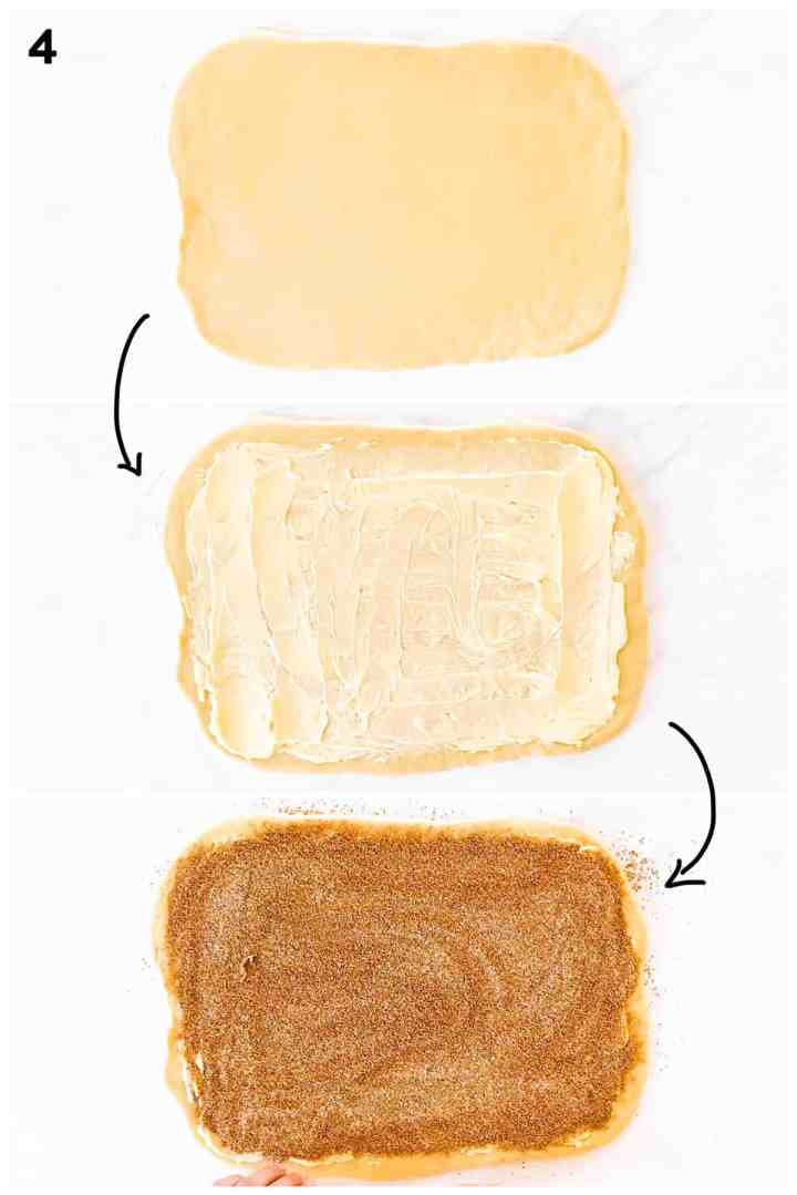 photo collage to show how to spread butter and cinnamon sugar on dough