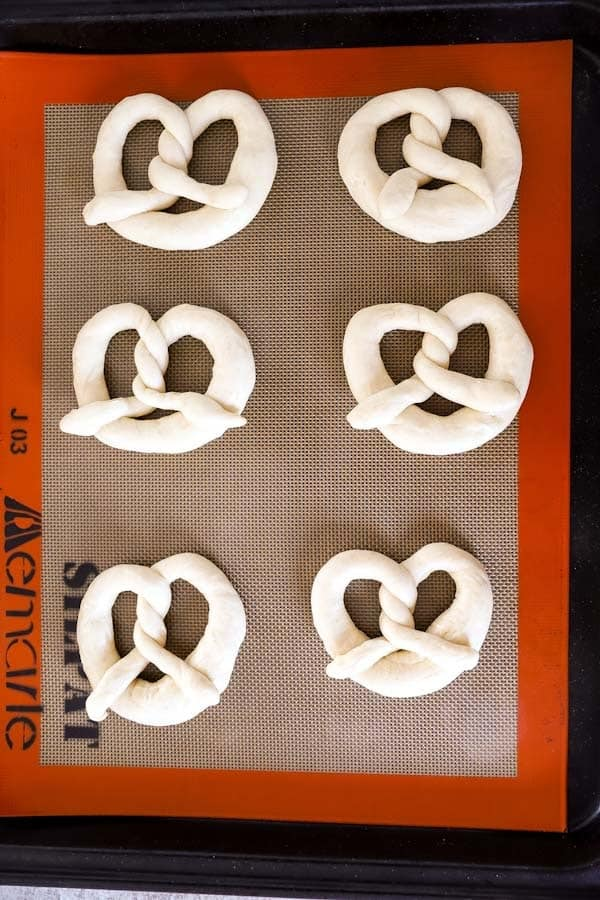 shaped soft pretzels before the second proof