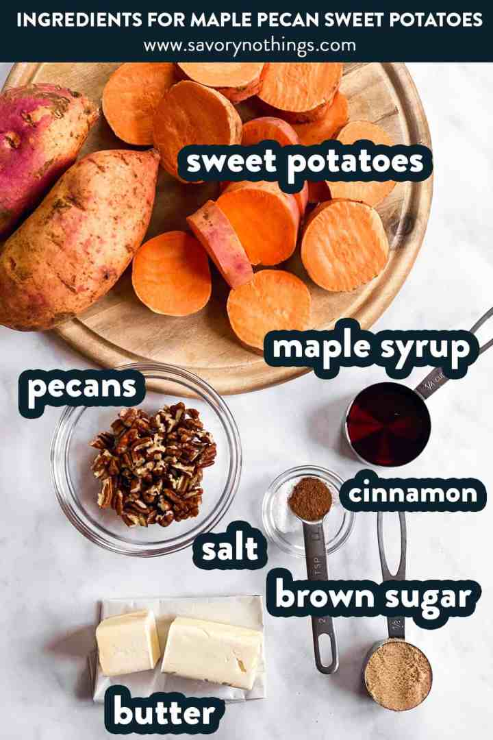 ingredients for roasted sweet potato slices with text labels