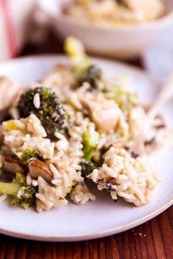 close up photo of a plate with chicken broccoli casserole