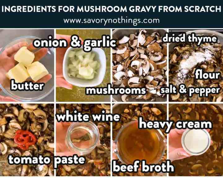 collage of ingredients to make mushroom sauce with text labels