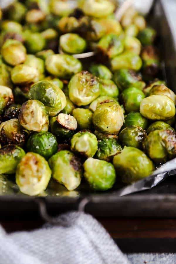 close up photo of garlic Roasted Brussels sprouts