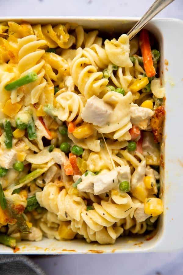 Close up photo of as noodle casserole