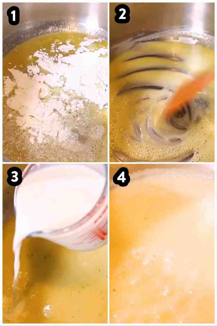 steps to show making a béchamel sauce