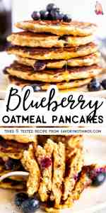 Blueberry Oatmeal Pancakes Image Pin