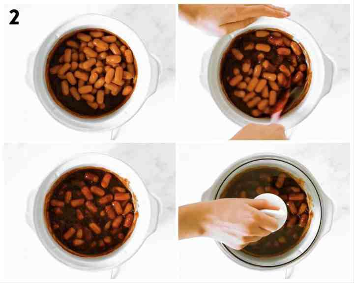 photo collage to show how to combine bbq sauce and little smokies in the crockpot