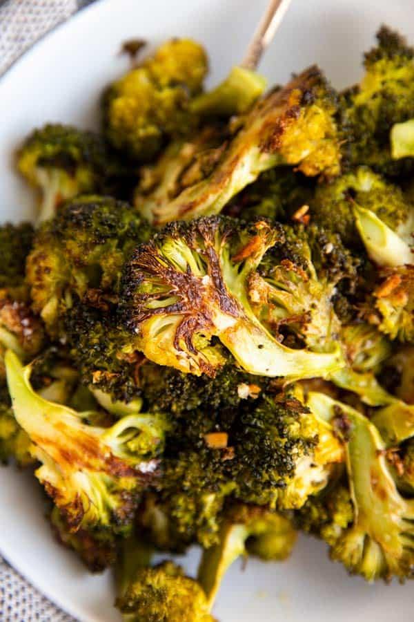 close up photo of roasted broccoli