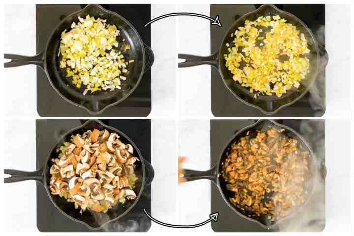 photo collage to show how to sauté leeks, onions and mushrooms