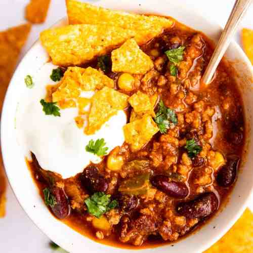 top down view on a bowl of instant pot chili