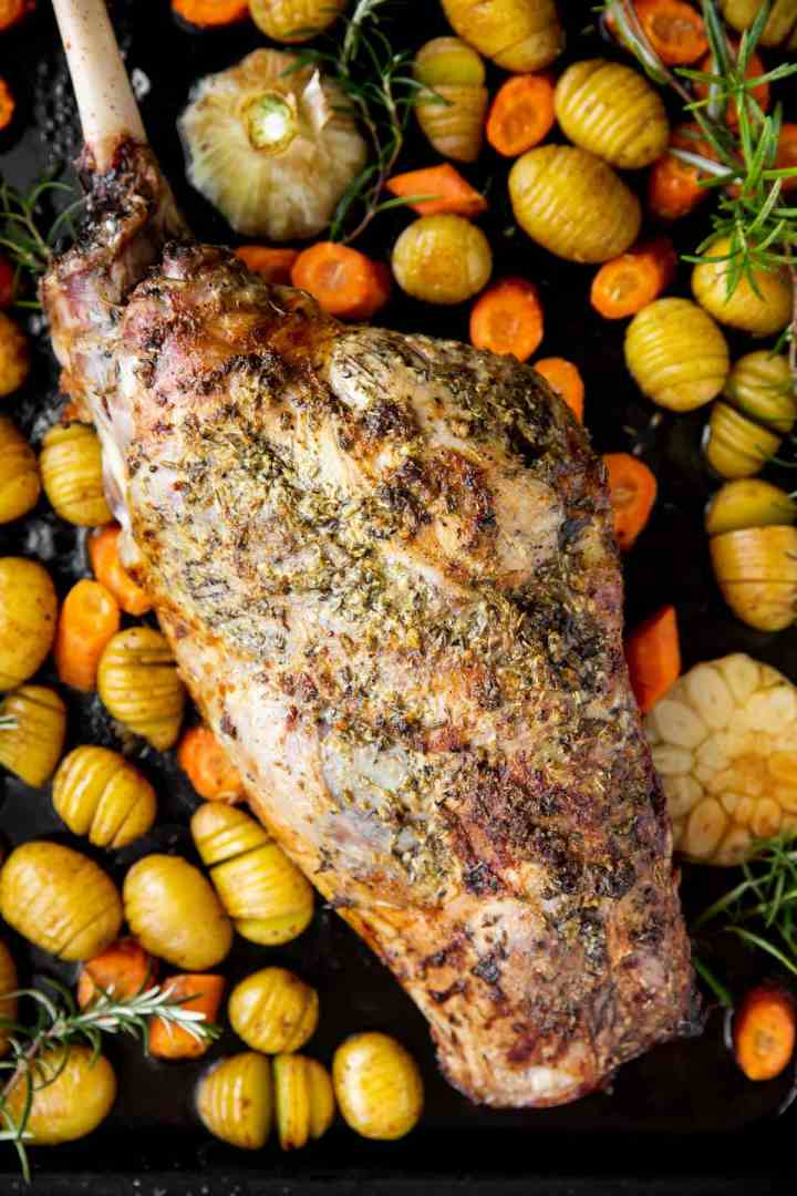 close up photo of roast leg of lamb