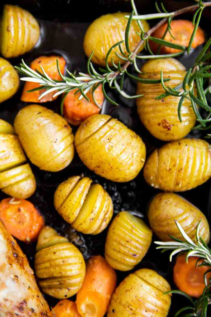 pan of roasted hasselback potatoes