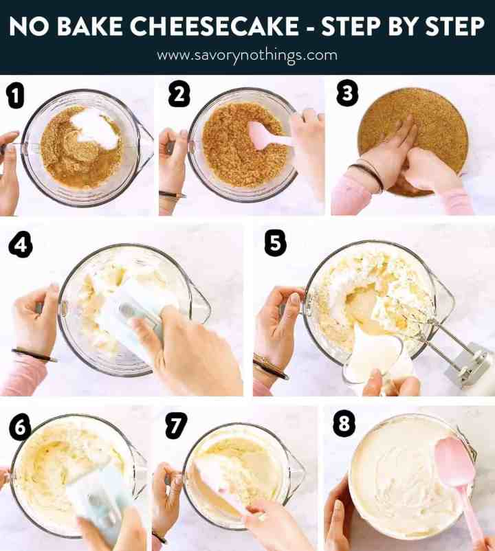 photo collage of no bake cheesecake steps