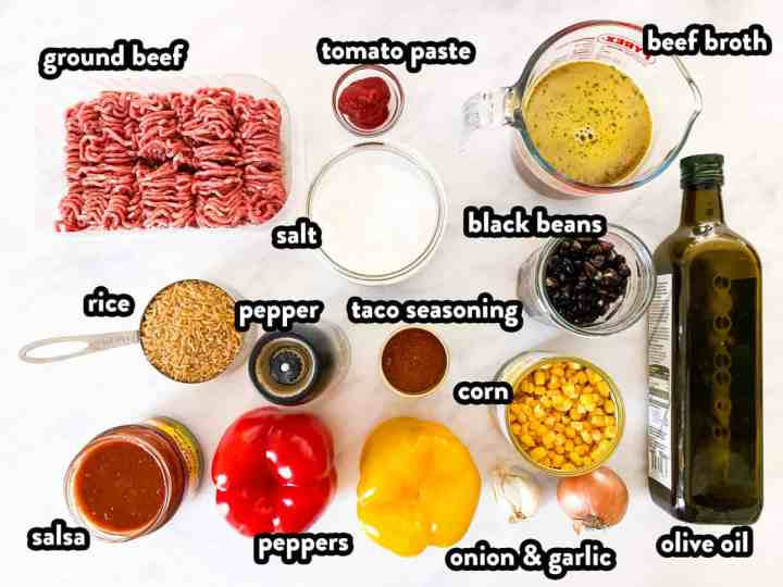 top down view on ingredients to make Mexican beef and rice