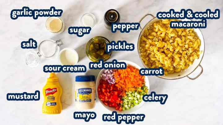 ingredients for classic macaroni salad with text labels