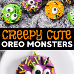 These Monster Oreos are so quick, easy and doable - the perfect Halloween Treat to make with the kids. You only need four ingredients to assemble them! | #halloween #halloweentreats #halloweenideas #halloweenrecipes