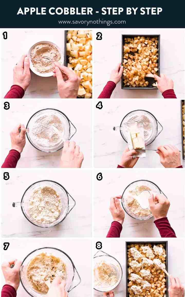 collage of steps to make apple cobbler
