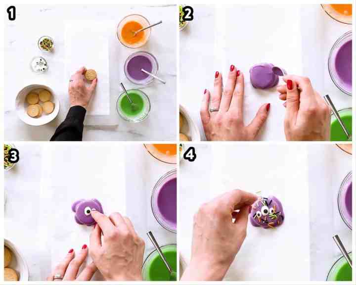 collage of steps to decorate Oreo cookies as monsters