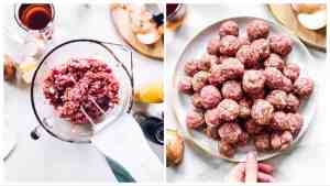 collage of images to show shaping meatballs