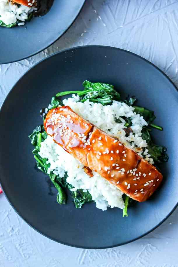 salmon rice bowl on a black background