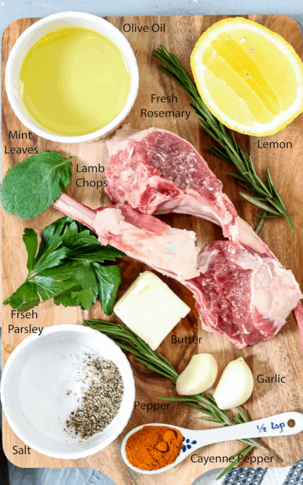 Baked Lamb Chops ingredients. Baked lamb chops permeated with garlic herb flavors! Marinated with mint to bring out the flavor of the lamb, then placed in the refrigerator for a little over 24 hours to ensure is bite is as rewarding as the first. Lamb Chops | Baked Lamb Chops | Pan Seared Lamb Chops | Garlic Herb Lamb Chops | Lamb Chops Recipes | Savory Thoughts #lambchops #bakedlambchops #pansearedlambchops #lambchopsrecipes