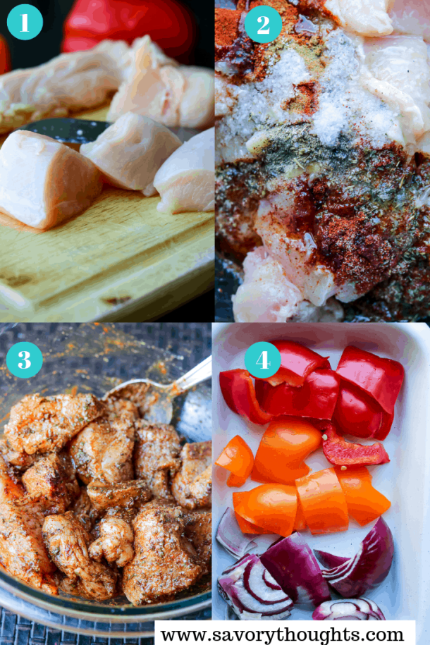Step by step photo to make Air Fryer Grilled Chicken Fajita Skewers.