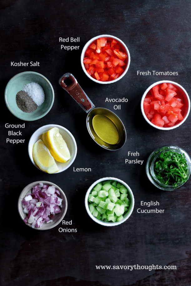 How to make Israeli Salad, a complete list of ingredients to make this middle eastern salad