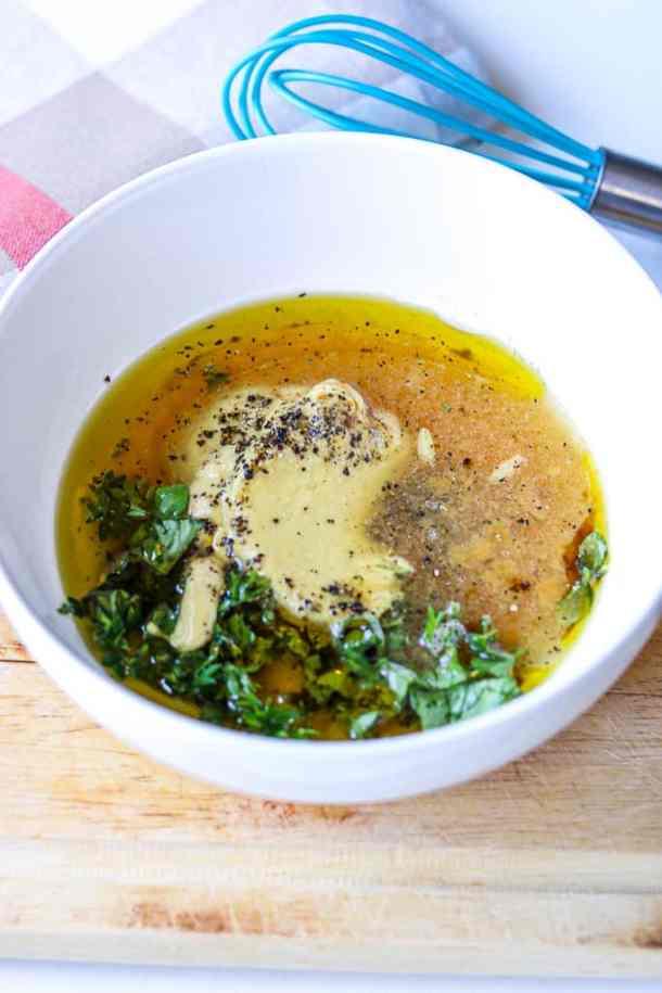 Ingredients in a white bowl to show how to make dijon mustard glaze. #dijonmustard #glaze #salmon #glazedsalmon