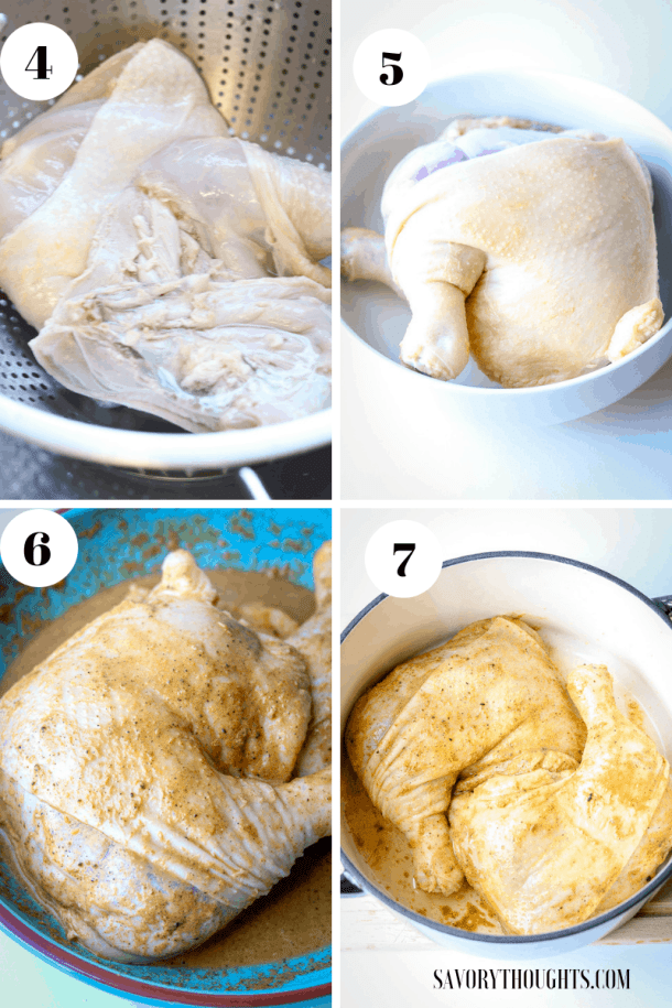 Haitian Chicken Cleaning method using lime, vinegar, and hot boiled water. then seasoned to marinate.