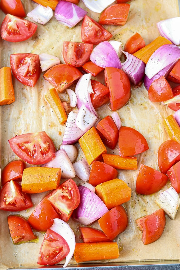 Vegetables in sheet pan for roasting