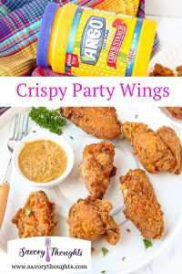 Crispy chicken wings with Argo corn starch and dipping sauce