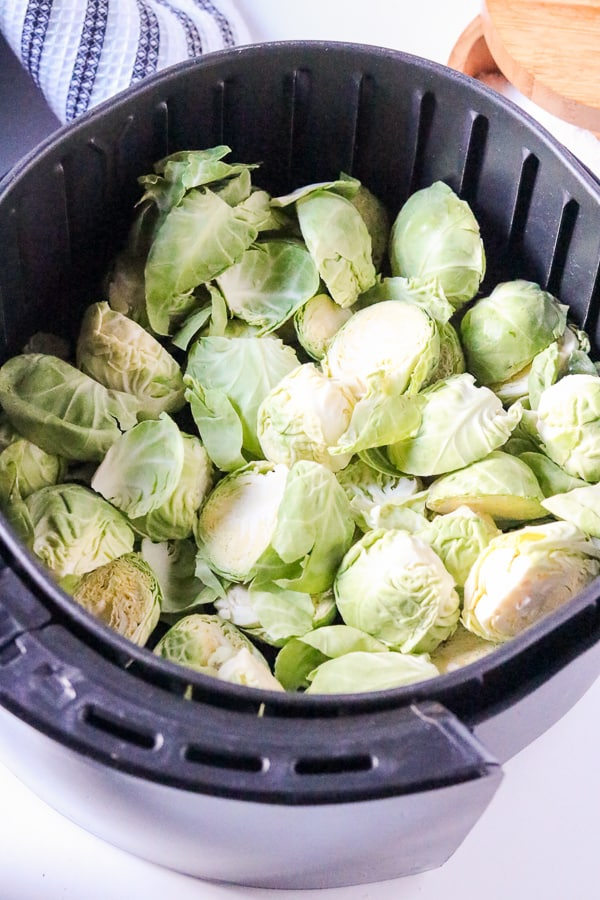 brussels sprouts in a air fryer basket