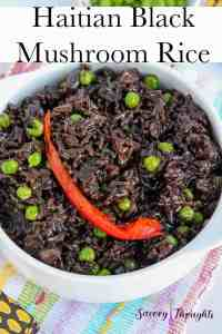 Haitian Black Mushroom Rice in white bowl recipe Pinterest Pin