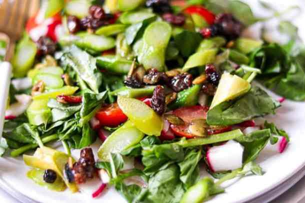 Closeup picture of asparagus salad