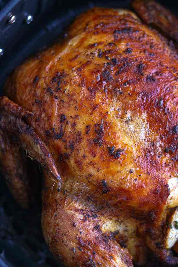 Cooked Roasted chicken in the air fryer