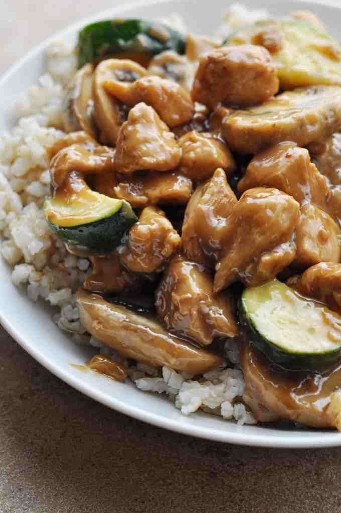 Panda Express Mushroom Chicken copycat recipe over rice