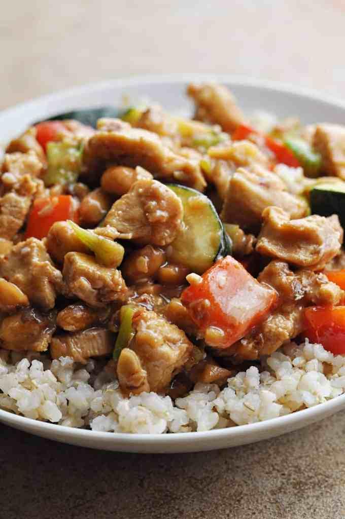 Panda Express Kungpao Chicken copycat recipe over rice