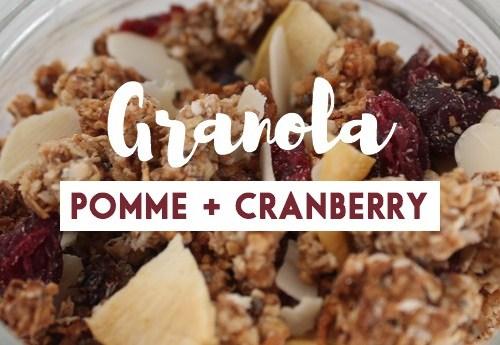 Recette de granola pomme-cranberry healthy et végétalien. + une fiche recette à télécharger en cliquant sur cette image