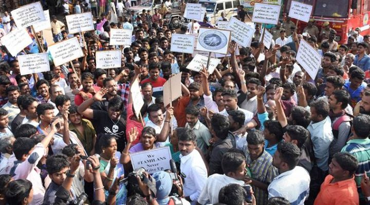 Madurai : Youngsters stage a protest against Jallikattu ban at Alanganallur in Madurai on Monday. PTI Photo (PTI1_16_2017_000179B)