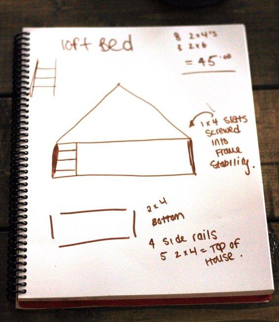 loft bed drawing