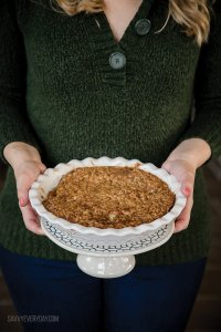 mom holding apple crumble